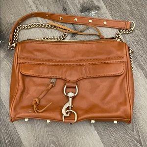 Rebecca Minkoff Brown Leather Gold Chain Crossbody
